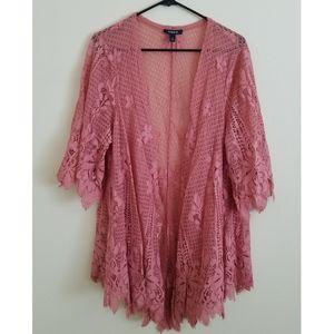 Pink Scalloped Lace Kimono - Plus Size